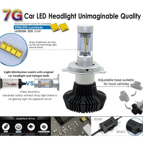 Car LED Headlamp Kit UP-7HL-9005W-4000Lm (H7, 4000 lm, cold white) Preview 3